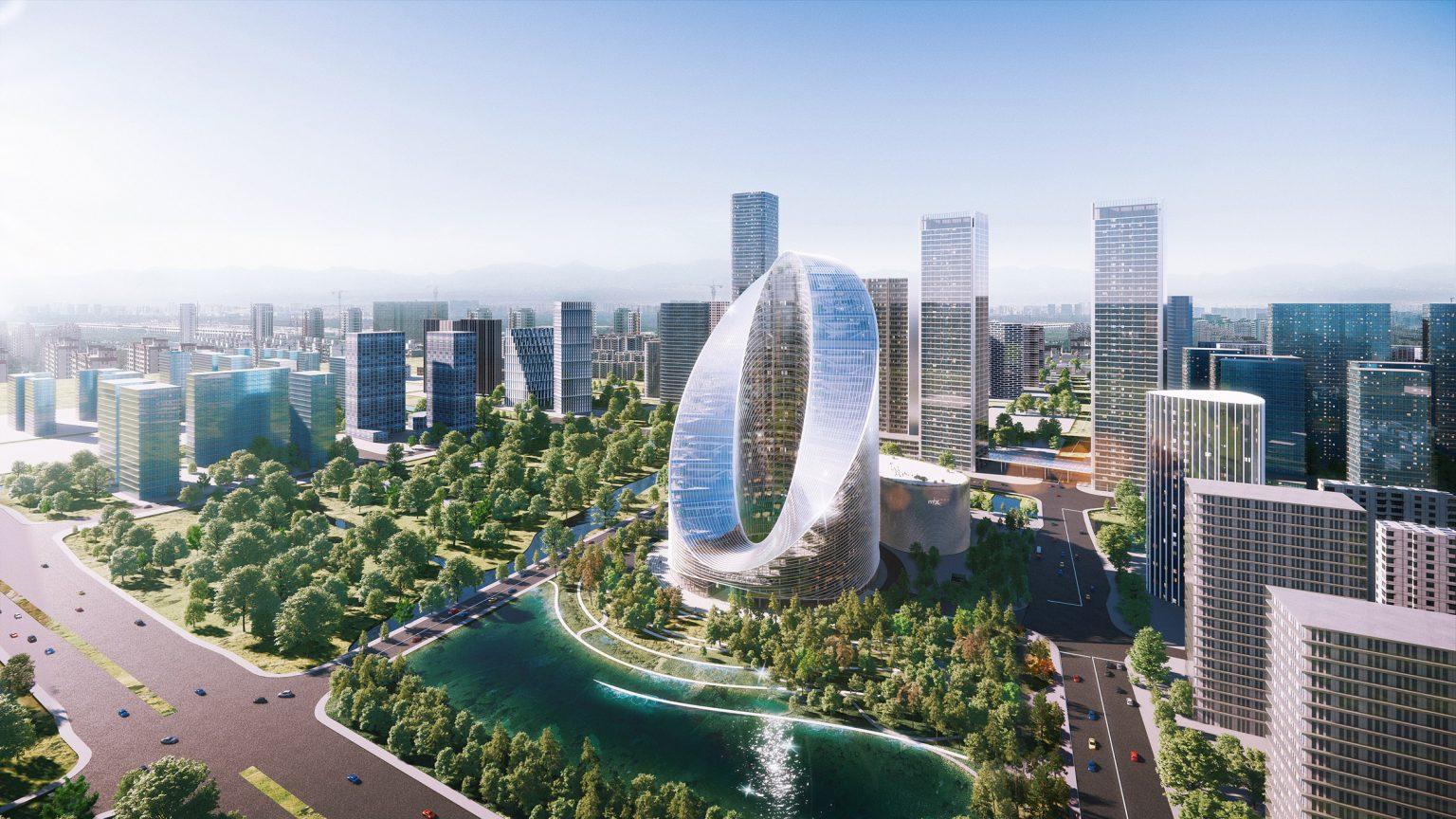 O-Tower - Tòa thấp ấn tượng hình chữ O của OPPO với thiết kế vòng lặp vô cực