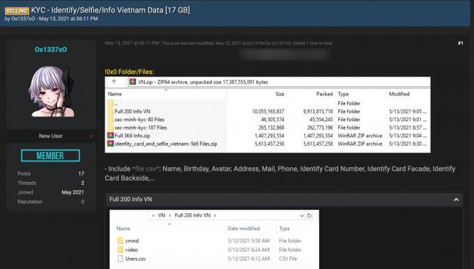 Gần 10.000 thông tin cá nhân người Việt bị rao bán với giá 207 triệu đồng