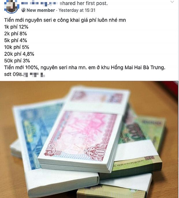 Dịch vụ đổi tiền lẻ, tiền mới lại nhộn nhịp... trên mạng