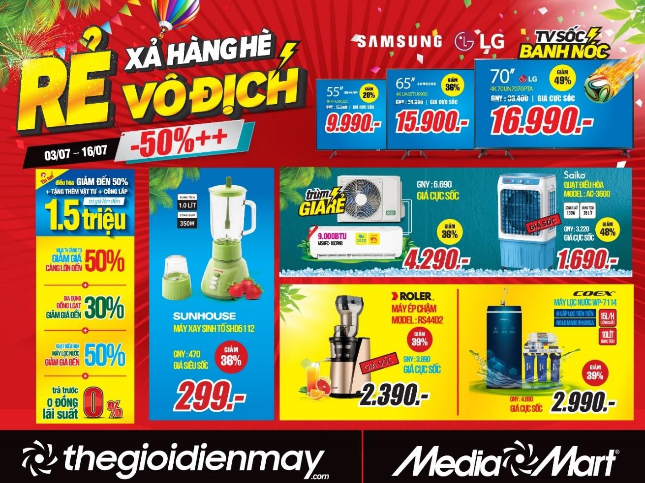 Siêu thị điện máy MediaMart xả hàng hè giảm sốc 50%