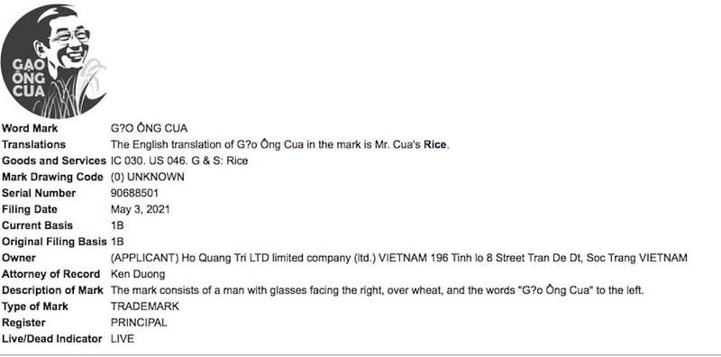 Gạo ST25 được đăng ký tại Mỹ với nhãn hiệu `Gạo Ông Cua`