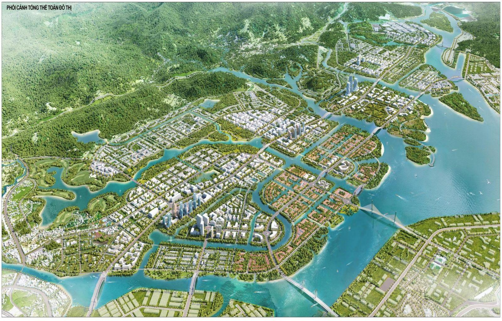 Phối cảnh tổng thể quy hoạch phía Nam Huyện Hoành Bồ do Văn Phú - Invest thực hiện