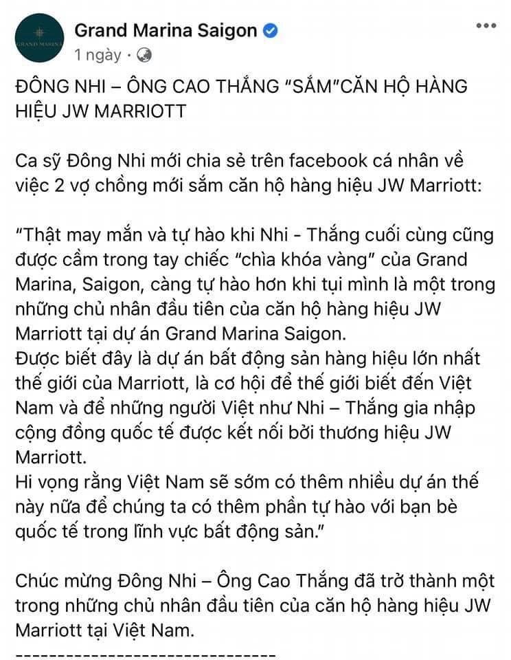 Fanpage của dự án Grand Marina chúc mừng vợ chồng Đông Nhi mua căn hộ