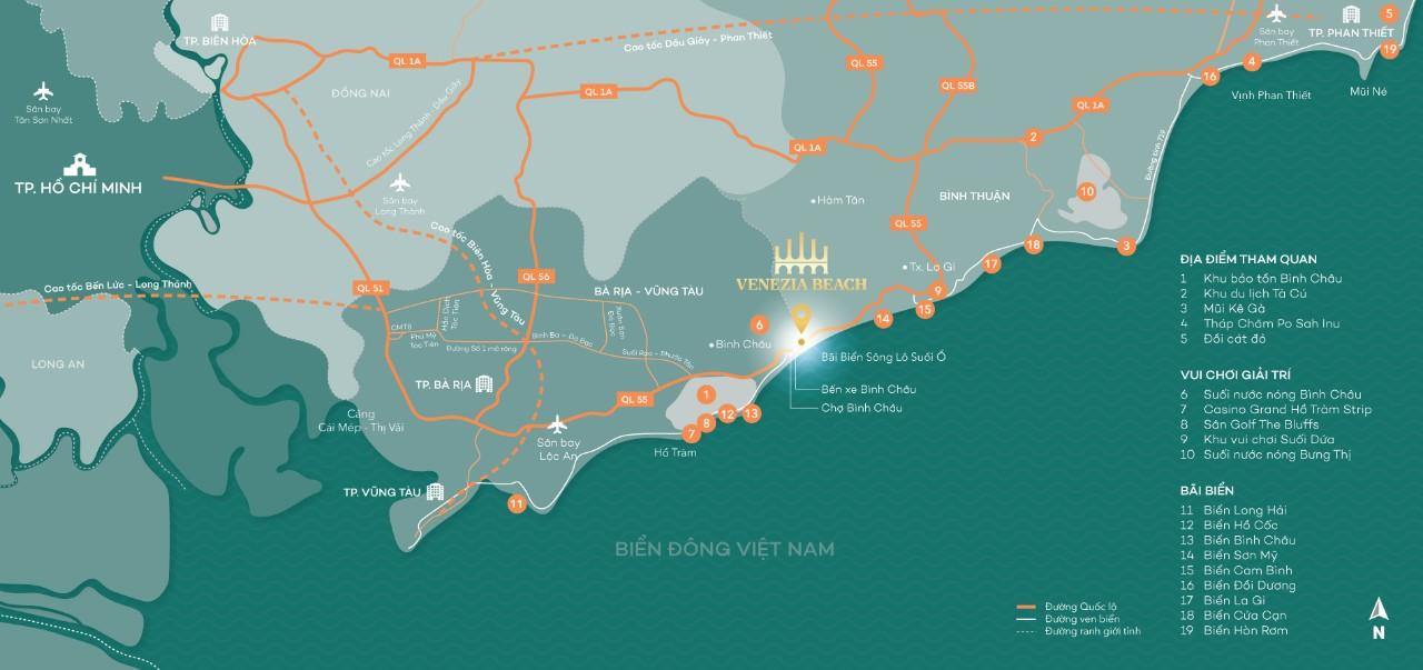 Venezia Beach là tổ hợp thương mại, giải trí, nghỉ dưỡng và du lịch mang thương hiệu quốc tế 5 sao đẳng cấp tại Hồ Tràm - Bình Châu. Dự án sở hữu 1km đường bờ biển và 1,1 km đường sông