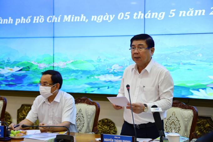 Chủ tịch Nguyễn Thành Phong phát biểu. Ảnh: Huyền Mai