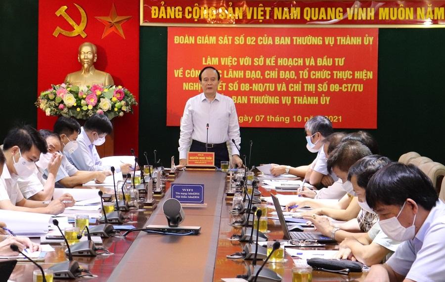 Quang cảnh buổi làm việc của Đoàn giám sát với Sở Kế hoạch và Đầu tư Hà Nội (Ảnh: Kinh tế đô thị)