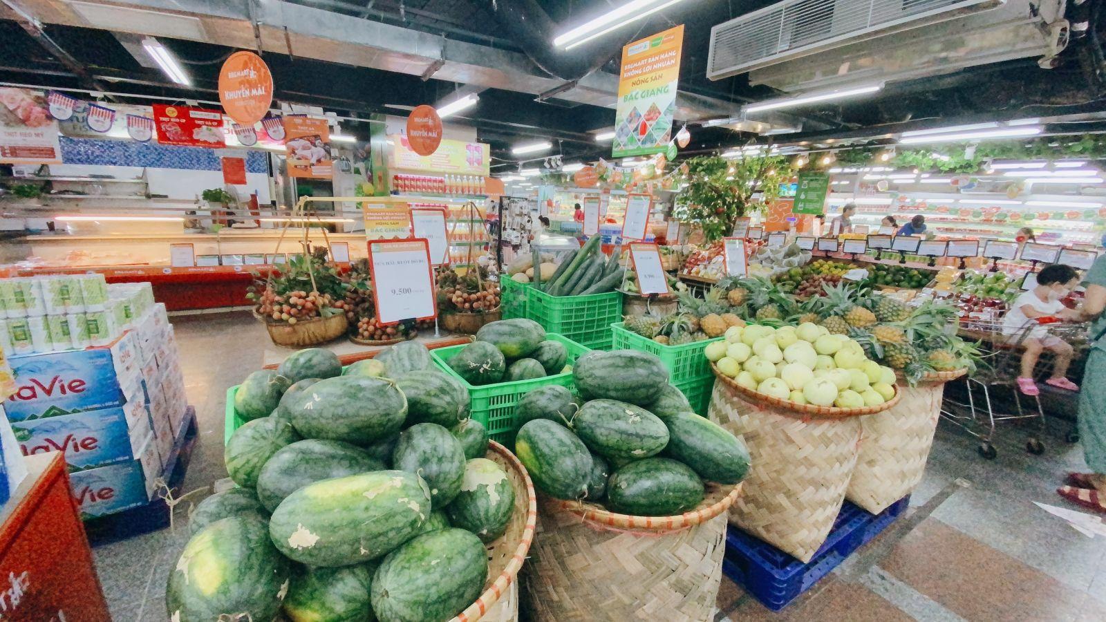 Nông sản Bắc Giang được trưng bày tại BRGMart