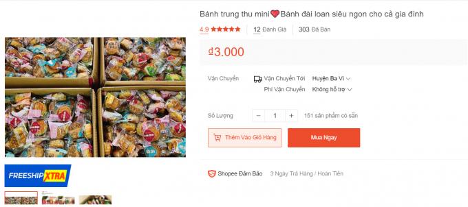 Bánh Trung thu có giá rẻ giật mình, 3.000 đồng/chiếc.