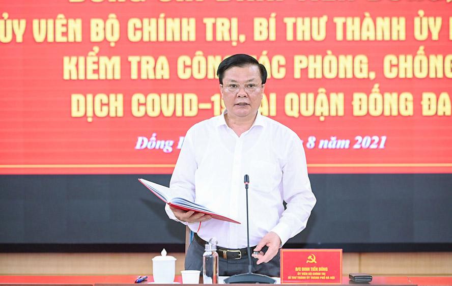 Bí thư Thành ủy Hà Nội Đinh Tiến Dũng phát biểu chỉ đạo tại buổi làm việc.