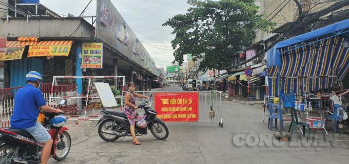 Chợ Bà Chiểu (quận Bình Thạnh) đang tạm dừng hoạt động để thực hiện giãn cách.