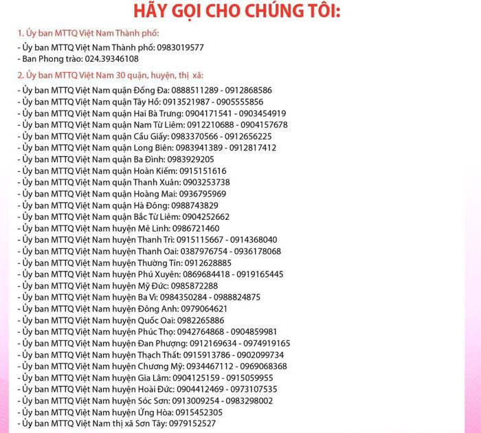 Số điện thoại đường dây nóng của MTTQ Việt Nam Thành phố và MTTQ Việt Nam 30 quận, huyện, thị xã