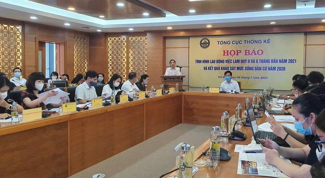 Quang cảnh họp báo công bố tình hình lao động việc làm quý II/2021 và kết quả khảo sát mức sống dân cư năm 2020.