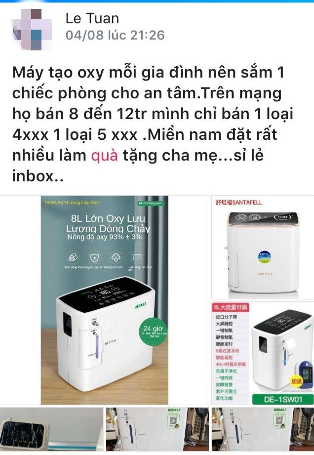 Trên trang Facebook của ông Lê Mạnh Tuân chào bán máy tạo oxy nhập lậu.