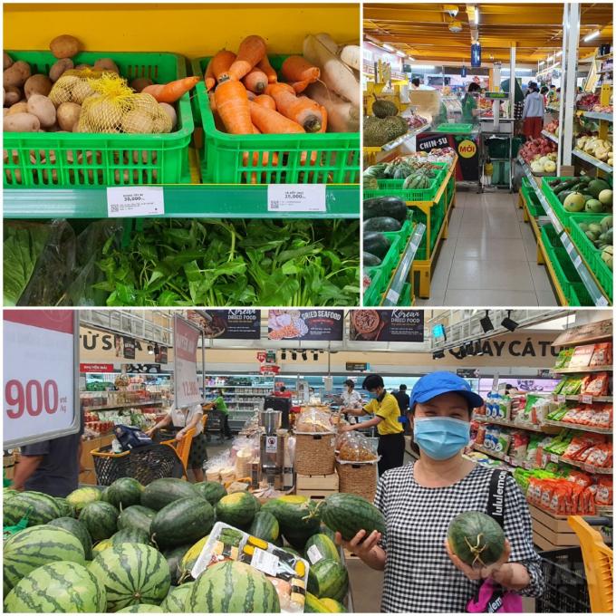 Trên kệ hàng các siêu thị dồi dào lương thực, thực phẩm phục vụ người dân.