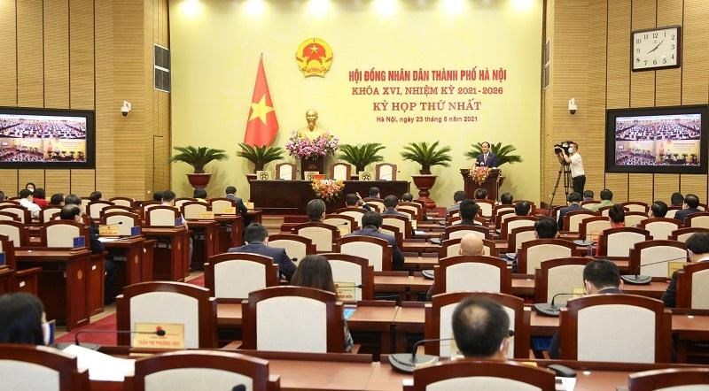 Quang cảnh kỳ họp thứ nhất HĐND TP. Hà Nội khóa XVI