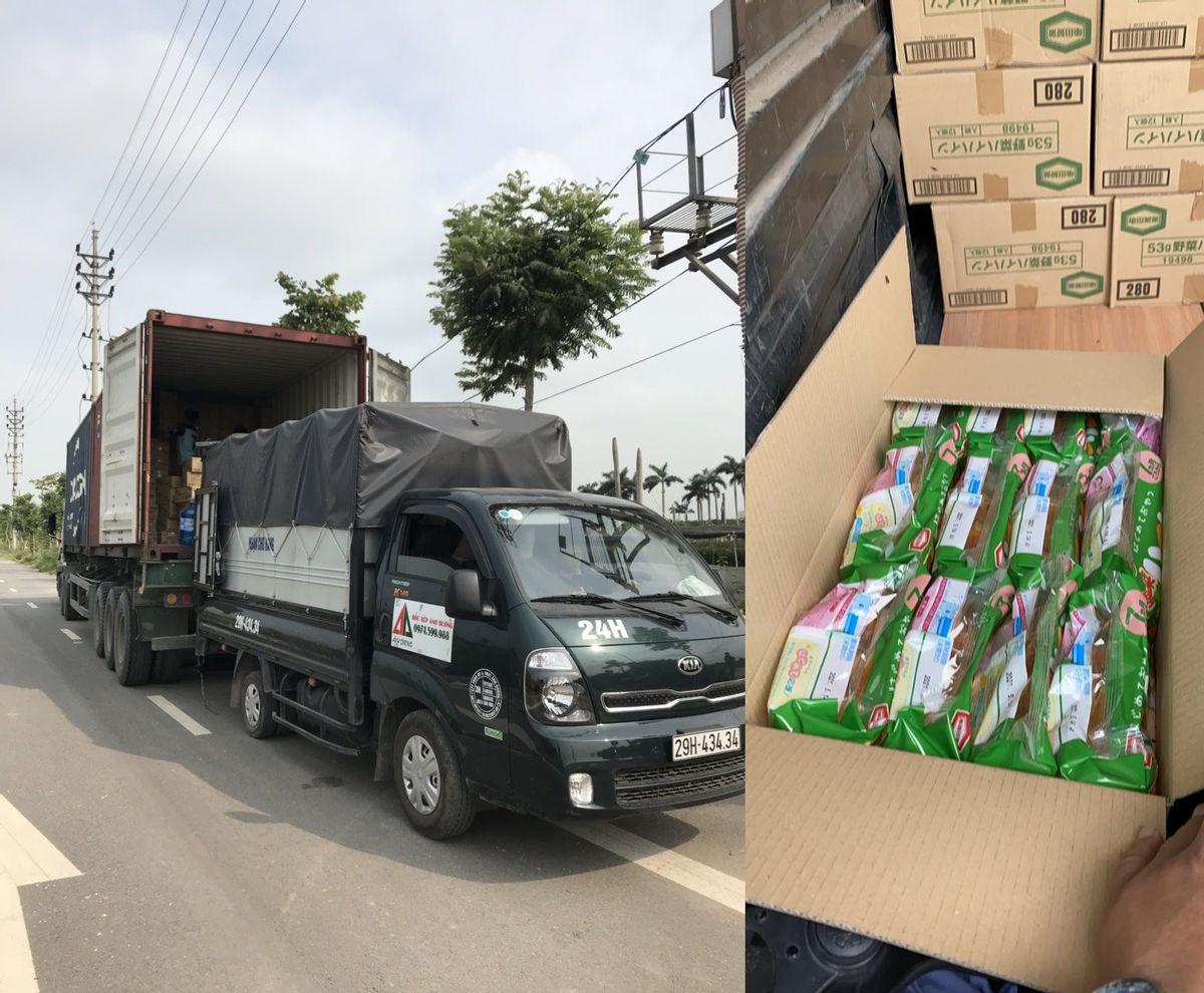 Số lượng lớn hàng hóa nhập khẩu không rõ nguồn gốc xuất xứ được đội Cảnh sát GTTT Công an quận Bắc Từ Liêm phát hiện tại trục đường Tây Thăng Long