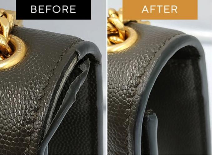 Một chiếc túi xách trước và sau khi được phục hồi.