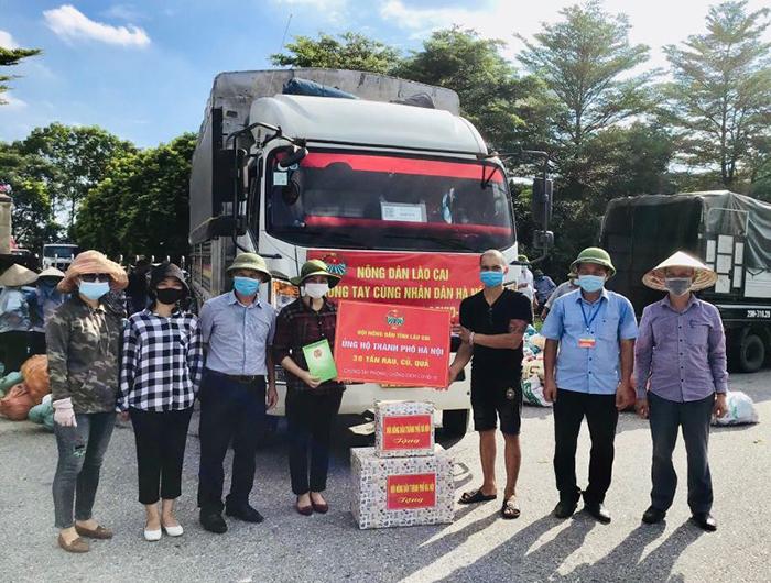 Hội Nông dân Thành phố tiếp nhận 33 tấn nông sản của Hội Nông dân tỉnh Lào Cai trao tặng