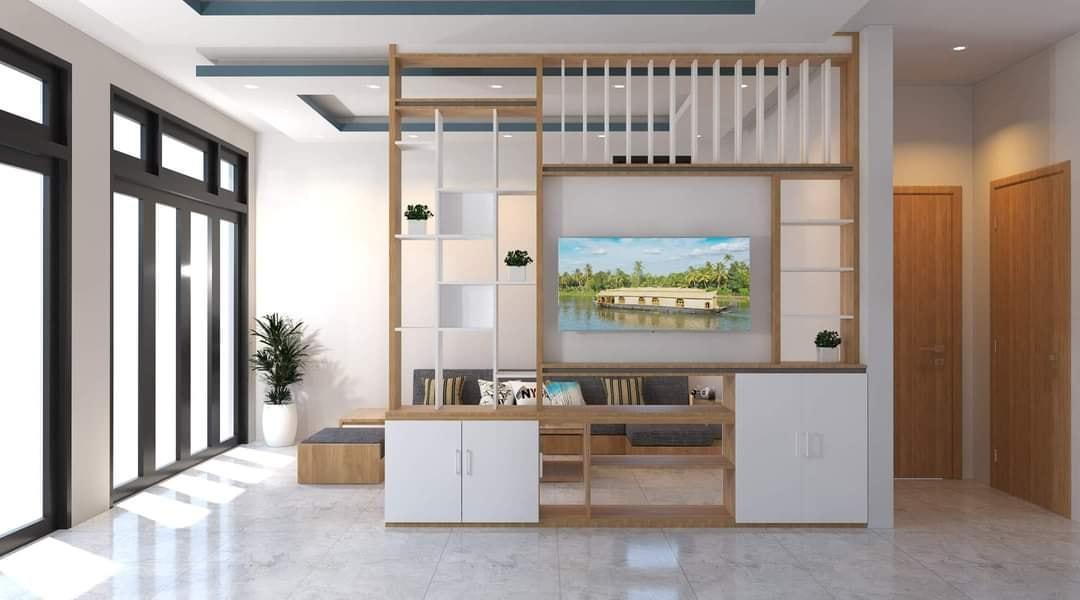 Vách ngăn giữa phòng khách với khu vực bàn ăn và khu bếp