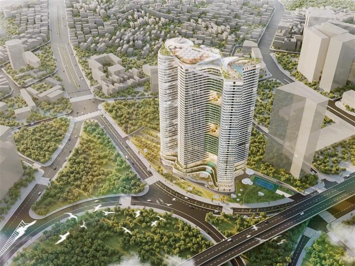 Dự án Grandeur Palace – Phạm Hùng được thiết kế lấy cảm hứng từ thác Bản Giốc và ruộng bậc thang.