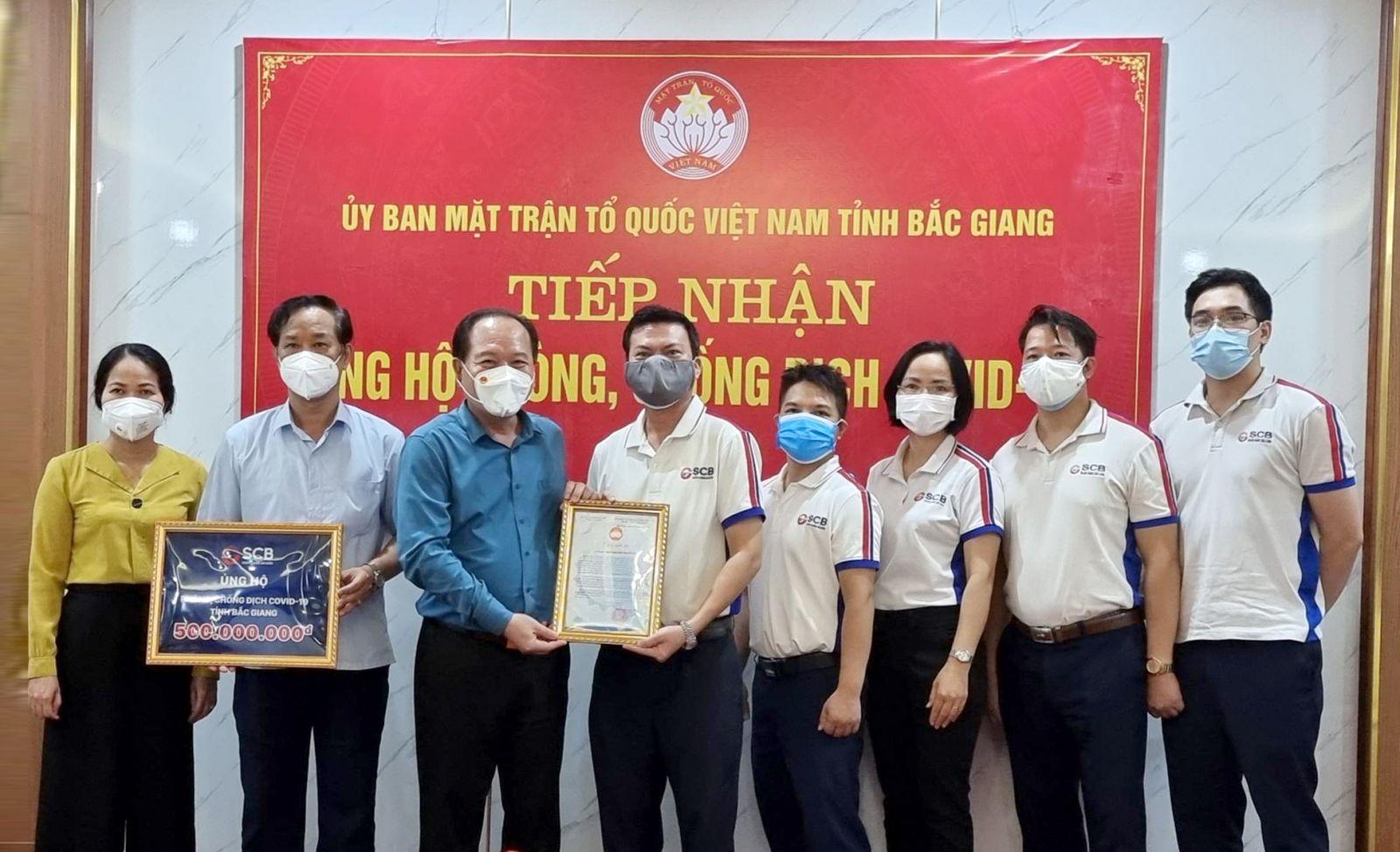 SCB trao tặng 500 triệu đồng cho UBMTTQ tỉnh Bắc Giang