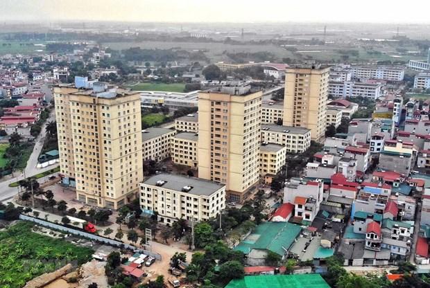 Khu nhà ở xã hội tại Xã Kim Chung, huyện Đông Anh (Hà Nội) dành cho công nhân khu công nghiệp Thăng Long. (Ảnh: Danh Lam/TTXVN)