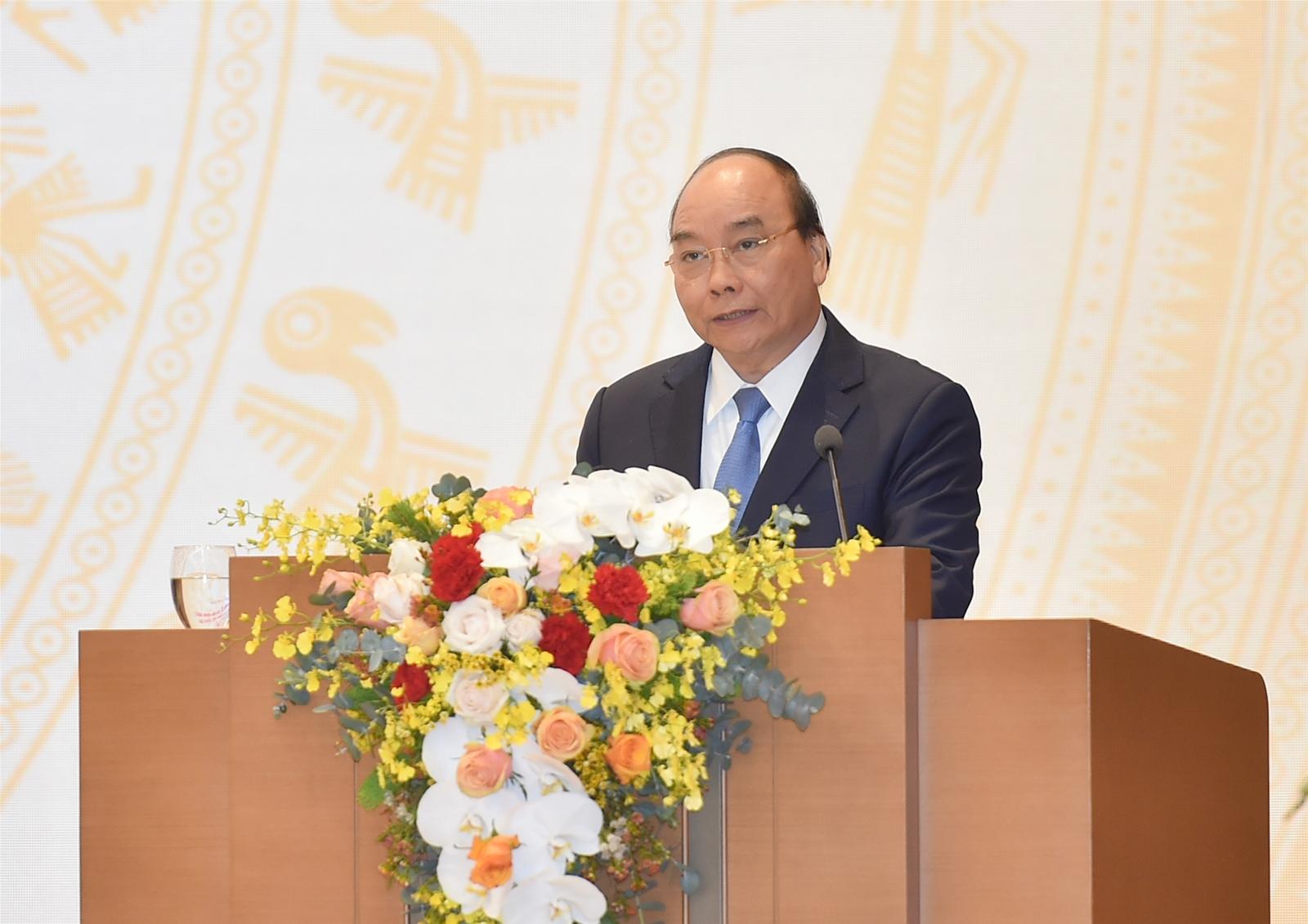 Thủ tướng Nguyễn Xuân Phúc phát biểu kết luận Hội nghị. (Nguồn ảnh: Quang Hiếu - Báo Chính phủ)