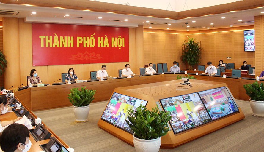Quang cảnh hội nghị tại điểm cầu thành phố Hà Nội.