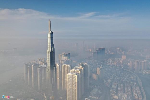 TP.HCM nhìn từ trên cao (ảnh chụp lúc 13h20 ngày 23/1/2021)