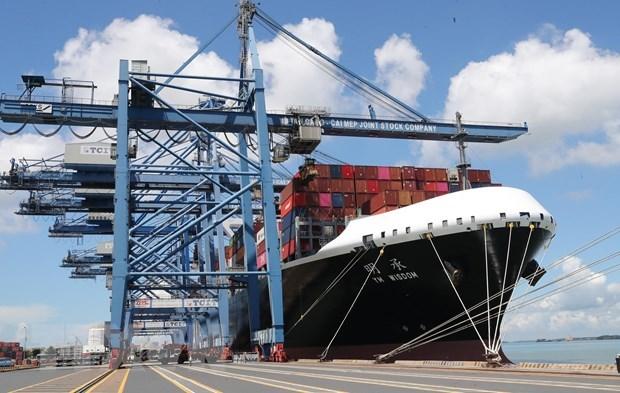 Tàu cập bến bốc dỡ hàng hóa tại cảng Tân Cảng-Cái Mép tại tỉnh Bà Rịa-Vũng Tàu. (Ảnh: Trọng Đức/TTXVN)
