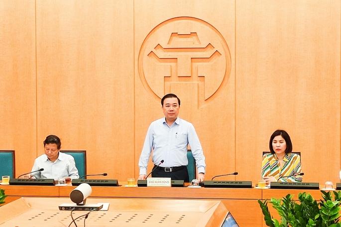 Phó Chủ tịch UBND TP Hà Nội Chử Xuân Dũng phát biểu chỉ đạo tại phiên họp chiều 12-4 (ảnh P.K)