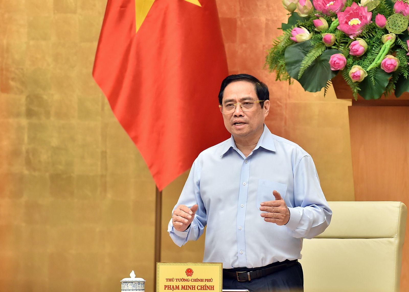 Thủ tướng Phạm Minh Chính: Dành tất cả những gì tốt nhất cho TPHCM chống dịch. Ảnh VGP/Nhật Bắc