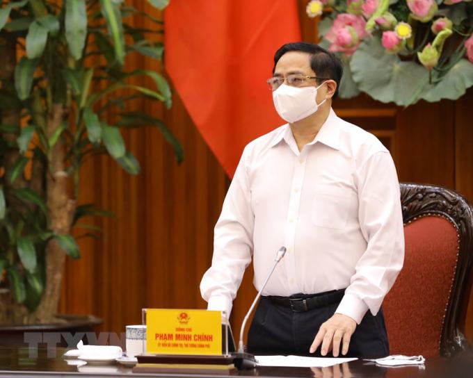 Thủ tướng Chính phủ Phạm Minh Chính phát biểu chỉ đạo tại cuộc họp. Ảnh: TTXVN