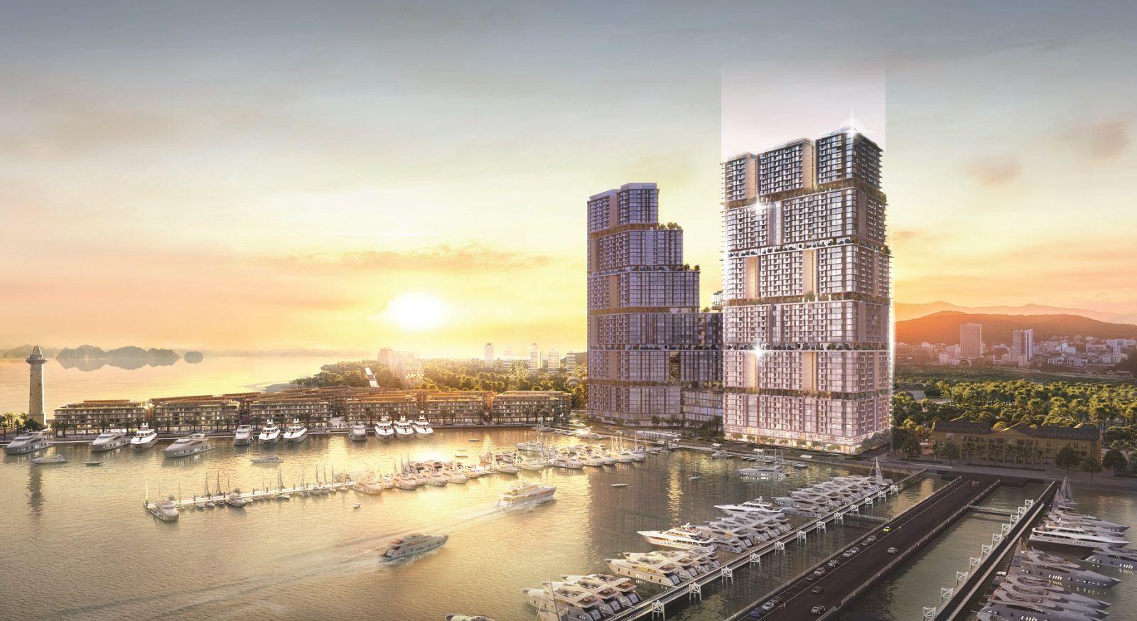 Tòa tháp mới trực diện bến du thuyền.