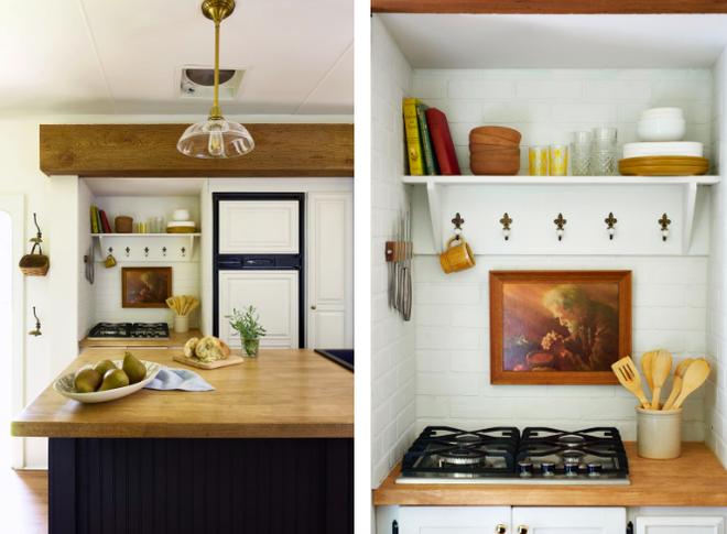 Không gian bếp sang trọng, đầy đủ tiện nghi với bếp nấu thương hiệu Gasland được mua từ Amazon. Đèn chiếu sáng của Pottery Barn.