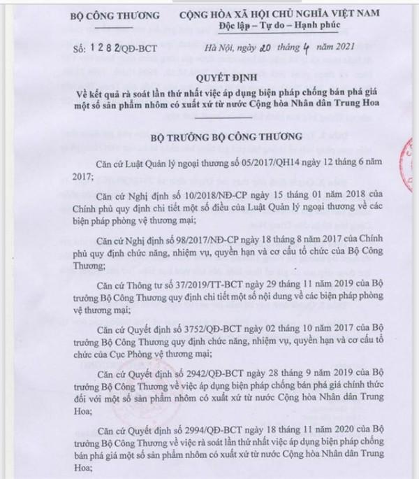 Quyết định số 1282/QĐ-BCT về kết quả rà soát lần thứ nhất việc áp dụng biện pháp chống bán phá giá một số sản phẩm nhôm có xuất xứ từ Trung Quốc.