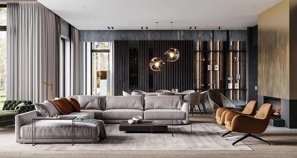 Phòng khách vừa đơn giản, sang trọng nhưng vẫn đảm bảo đủ ánh sáng mặt trời, tích tụ khí tốt từ tự nhiên là điều cần lưu ý (Nguồn: Khonggianbep.com)