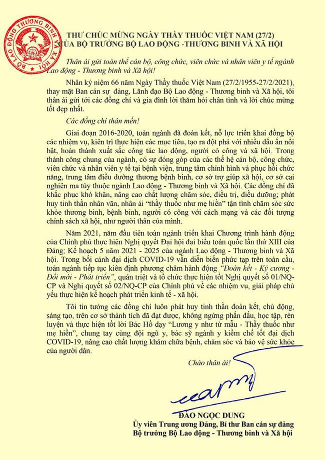 Bộ trưởng Đào Ngọc Dung gửi thư chúc mừng nhân Ngày Thầy thuốc Việt Nam