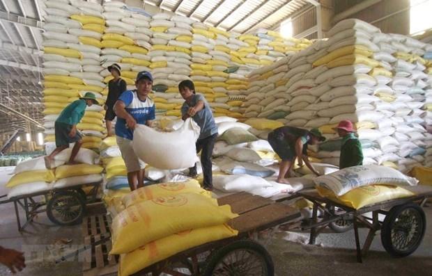 Chuẩn bị nguồn hàng gạo xuất khẩu tại Công ty Lương thực sông Hậu thuộc Tổng công ty Lương thực miền Nam. (Ảnh: TTXVN)