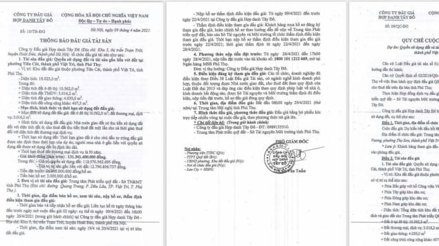 Đấu giá khu đất hơn 18.000m2 ở Phú Thọ: Nhiều vi phạm có thể dẫn đến thất thoát tài sản Nhà nước?